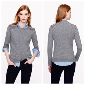 J. Crew Jeweled-shoulder sweater